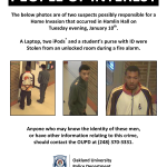 OU ALERT: OUPD seek two home invasion suspects